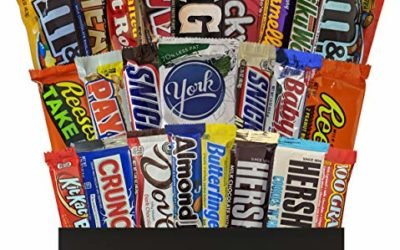 24 CT Unique Full Size Candy Bars in Gift Box – Care Packages for College Students or Military – Gift Baskets for Families, Men or Women – Bulk Office Candy or Adult Easter Basket, Bundle of 24 Items