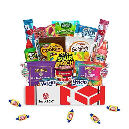 Kids Snack Box Care Package for Easter, Birthday Party Gift Ideas with Snacks and Candy (24 Items)