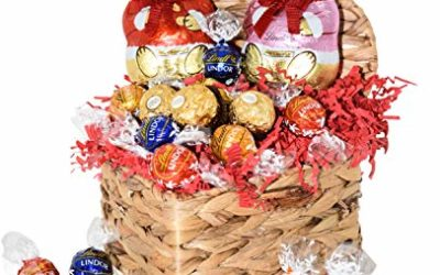 Valentine's Day Gift Basket – Chocolate Candy Gifts for Him and Her – Large Bears and Truffles – HEART SHAPED BASKET for Wife, Husband, Couples, Friends, Men and Women