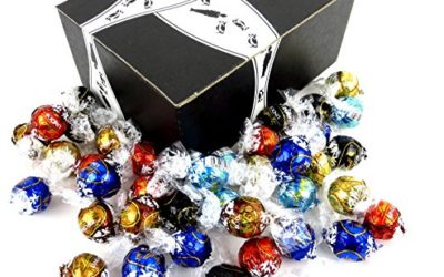Lindt LINDOR Truffles 6-Flavor Variety: One 1 lb Assorted Bag of Milk Chocolate, Dark Chocolate, 60% Extra Dark Chocolate, White Chocolate, Stracciatella, and Hazelnut Milk Chocolate in a BlackTie Box