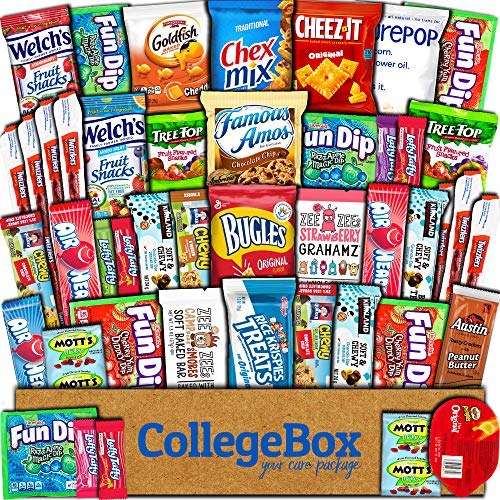 CollegeBox Care Package (45 Count) Snacks Food Cookies Chocolate Bar Chip Candy Ultimate Variety Gift Box Pack Assortment Basket Bundle Mix Bulk Sampler Treat College Students Final Exam Office Easter