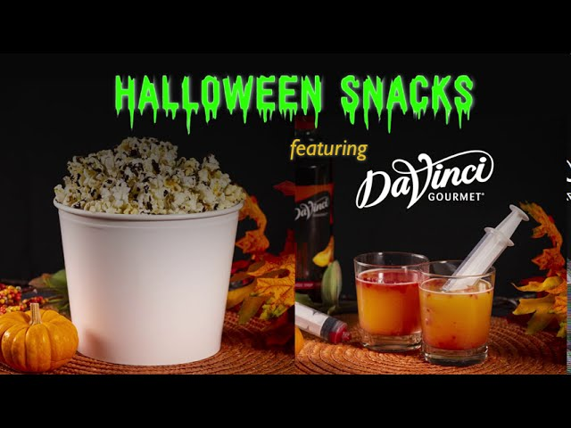 Halloween Snacks with DaVinci Gourmet | CANDY POPCORN AND SPOOKY COCKTAIL RECIPES