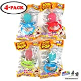 Sour Pacifier Pop (4 Pack) Lollipop 3 Colors 3 Flavors with 2 GosuToys Stickers